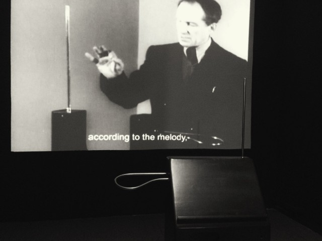 Leon Theremin, and a modern recreation of his invention.