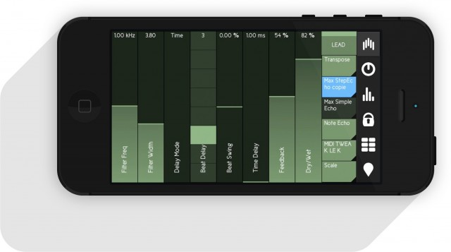 Control Devices' parameters. Here, we see a built-in Ableton Device, but AU and VST plug-ins can be manipulated, too.
