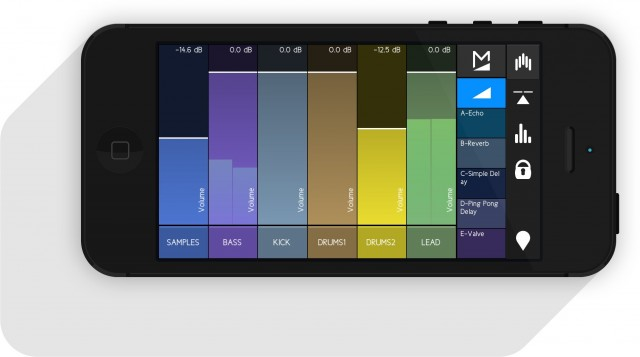 Requisite mixing controls are available, and scale nicely to the iPhone display.