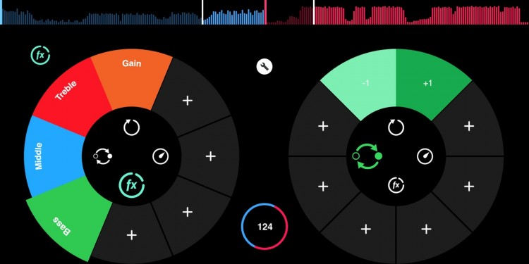 Tapping the icons in the center of the decks pulls up cleverly-designed, elegant interfaces for cues, beats, and effects.