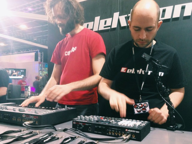 The boys of Elektron, jamming out. The analog lineup at the booth was a big hit at Messe, but the news story was making that analog play nicely with your lappy.