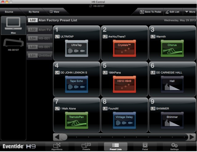 In addition to its harmonizer capabilities, the H9 - seen here from the companion PC/Mac control app - can run a variety of stomp effects.