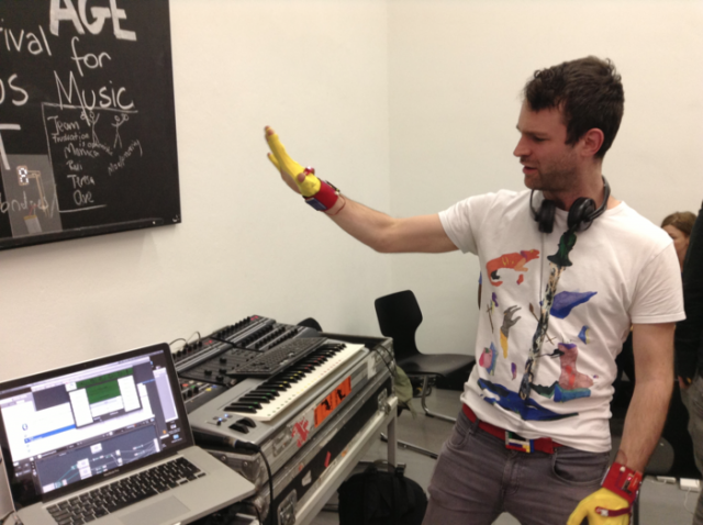 Tim Exile gives the gloves ago at the CDM-hosted CTM MusicMakers Hacklab, 2013.