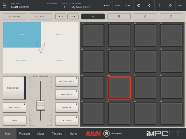 Variation controls let you use the fader at the bottom to control details of your pad performances. It's powerful, but it also reveals iMPC Pro to be a bit conflicted in how it wants you to play. Are you using hardware-style buttons, or X/Y controls, or hardware-style faders with things at the top left that act more like buttons?