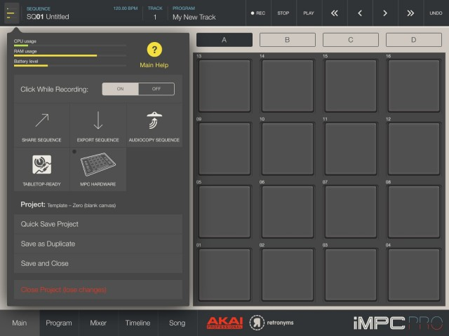 Edit options are tucked away in the corner. Unfortunately, file exchange is fairly limited. There's Audiocopy support (missing in iMaschine), and you can export to audio for your computer. There's also integration with Retronym's Tabletop (pending an update). But MIDI is missing, and you can't use iMPC Pro with, say, AKAI's desktop software.