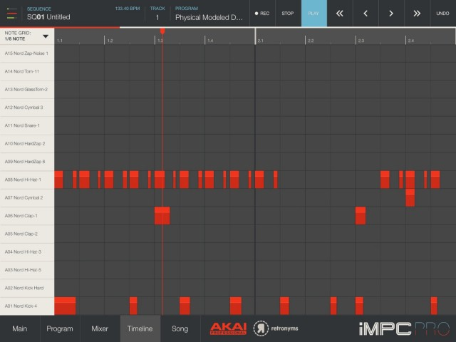 You don't get the full-blown DAW editing you find in BeatMaker 2, but iMPC Pro does have advanced pattern editing and 64 tracks - still quite a lot of power in a mobile app.