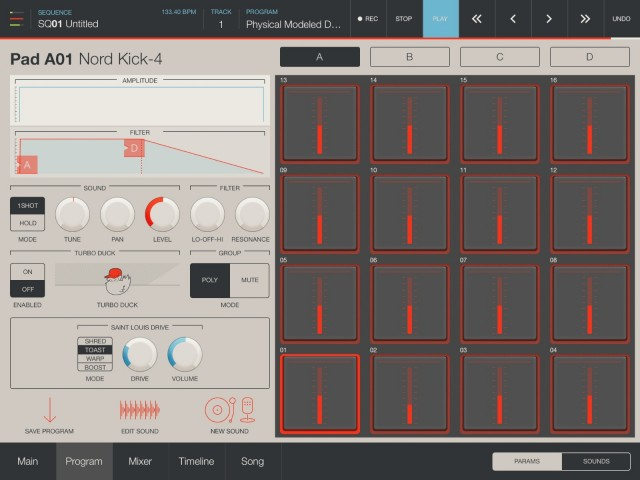Dive into individual program controls on the pads, and you can add beautiful-sounding effects and other fine-grained controls.
