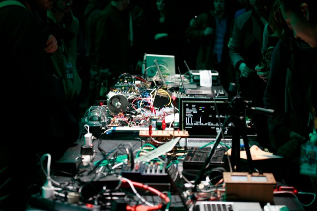 The 2014 hacklab's output, all wired up for the performance. Photo: CTM Festival.