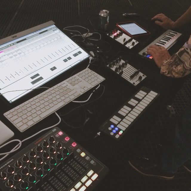 A live rig application - the LaunchControl XL joins keyboards, Faderfox UC3 in a collaborative setup with me and Robert Lippok on the 4DSOUND system at Amsterdam Dance Event.