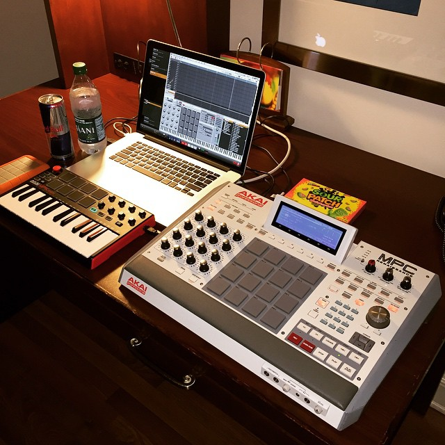 Akai artist Needlz set up this MPC+computer rig with Renaissance ... in a hotel room (to get out of the house). No, no standalone MPC hardware at the moment, but 1.8's software features might help you forget that.