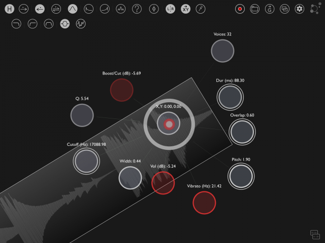 Parameters highlight red as you record automation via gestures. You can queue and disable automation, as well.