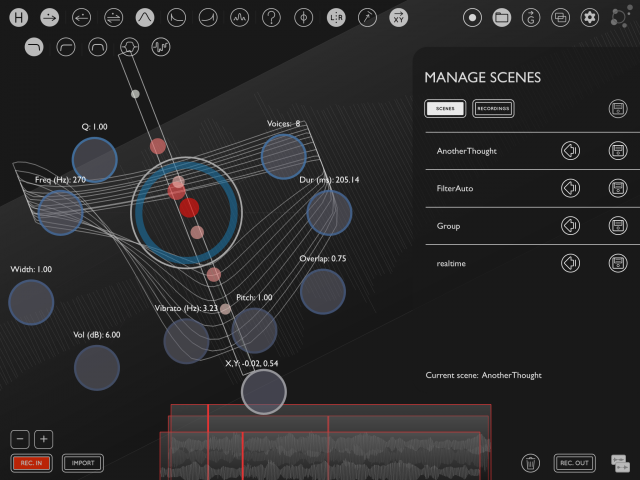 By managing scenes, you can save presets for playback or favored input/effect configurations.