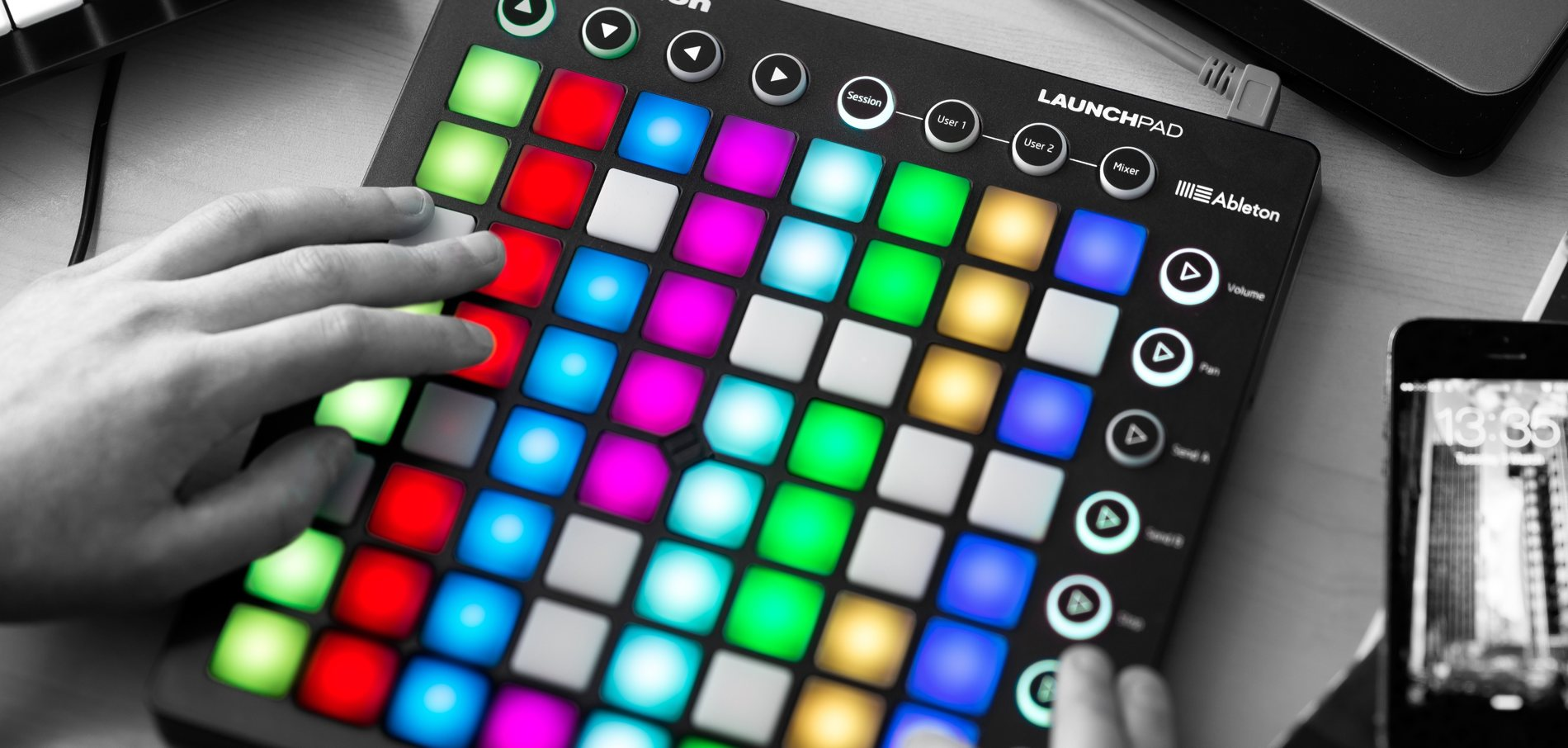 novation 39 s launchpad grid now in color for ableton or ipad create digital music. Black Bedroom Furniture Sets. Home Design Ideas