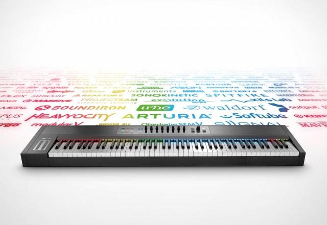 Native Instruments finally respond to customer demand for a keyboard that spits out rainbow-colored plug-in logos. (Komplete Kontrol 1.5 software update required.)