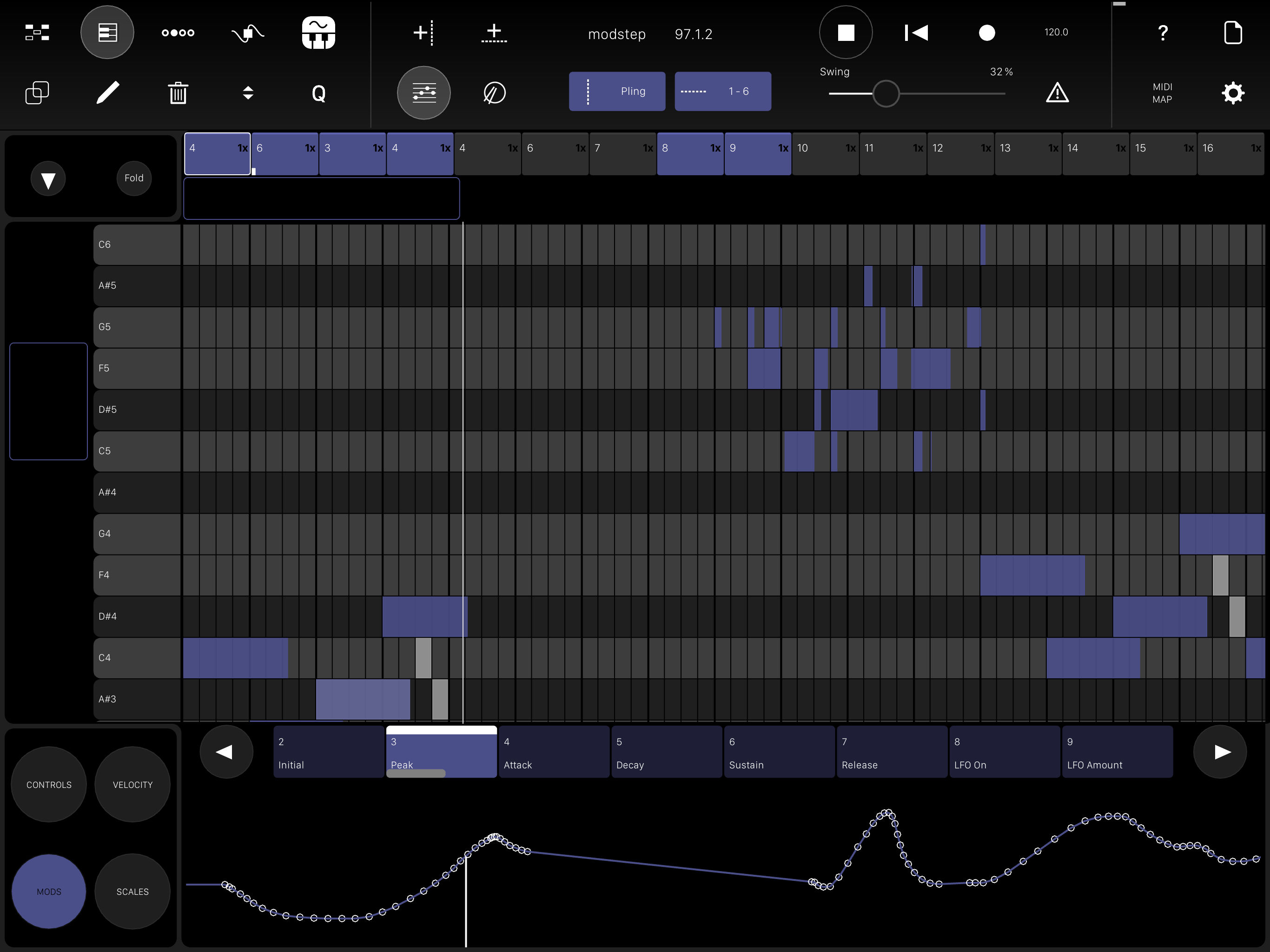 If step sequencing isn't always your game, there's a piano roll view, as well.