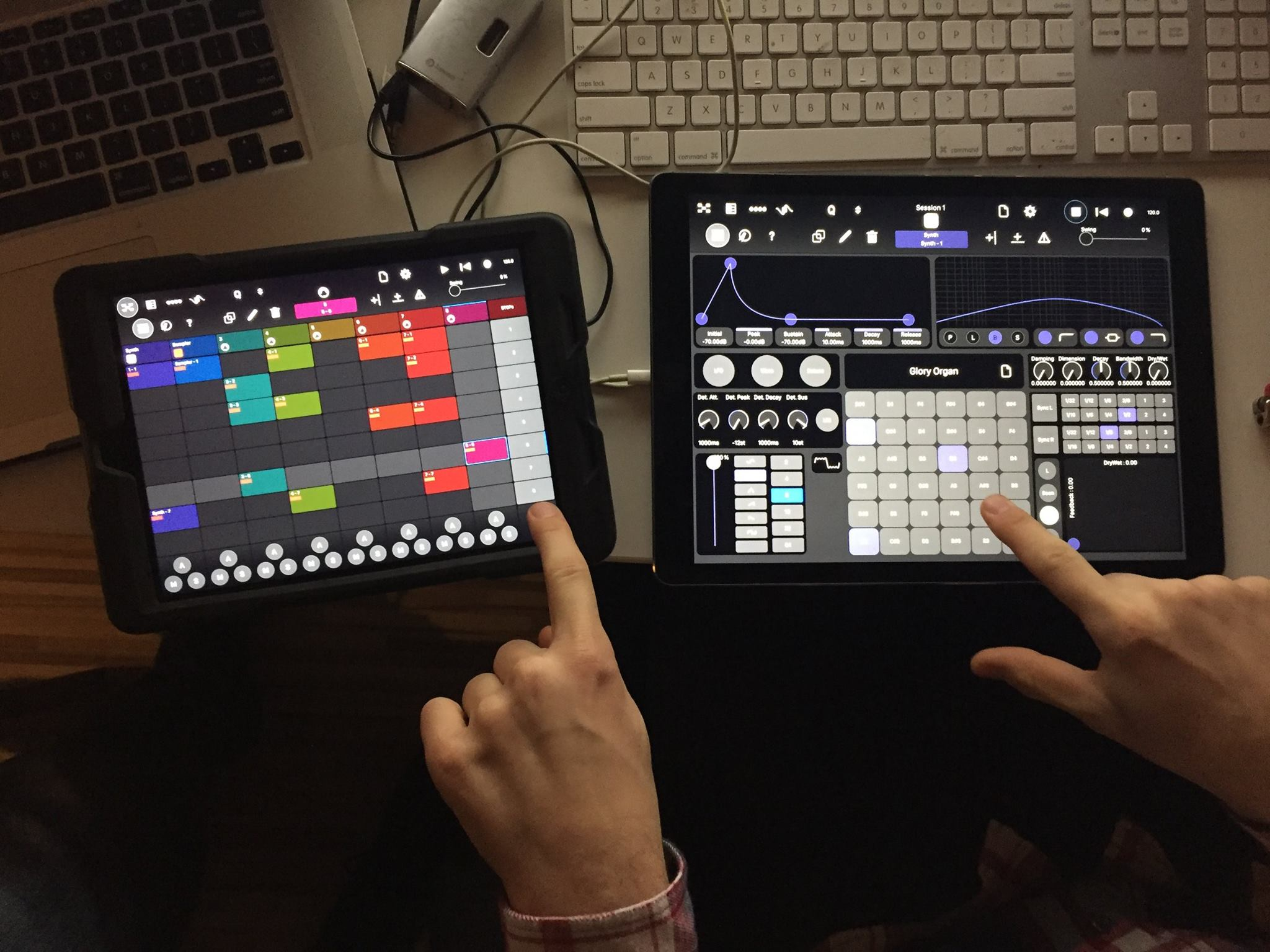 Modstep in action on the new iPad Pro, right, versus an iPad Air, left. Amazing what happens with screen real estate.