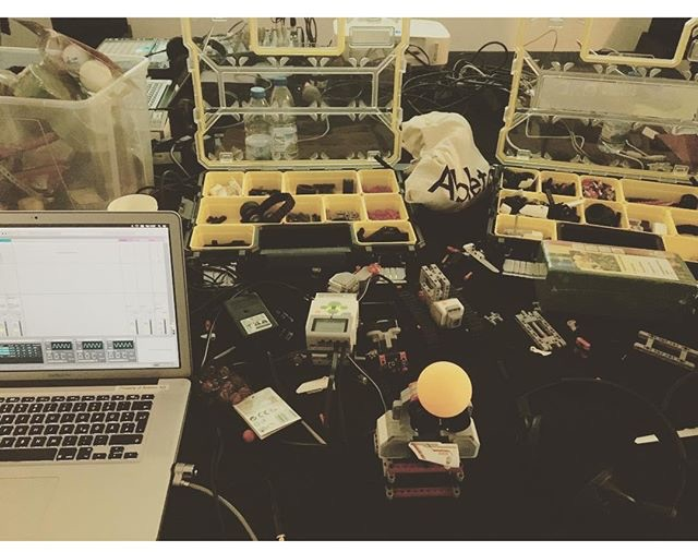 A Mindstorms play area, seen at CTM Festival last month (with some happy Abletons running motors and sensors)!