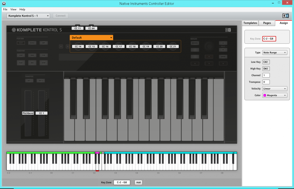 Komplete Kontrol S-series keyboard mappings, for playing a synth, controlling Ableton Live, and triggering Traktor macros.