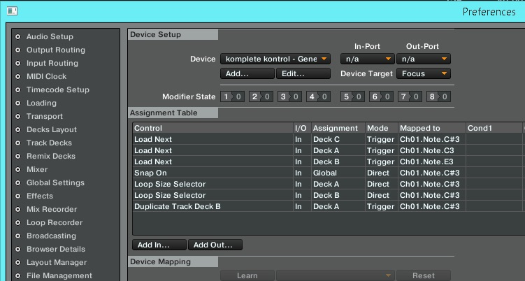 MIDI mappings set up in Traktor.