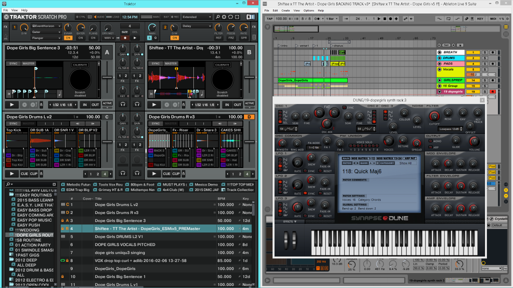 Split-screen showing Ableton and Traktor at once.