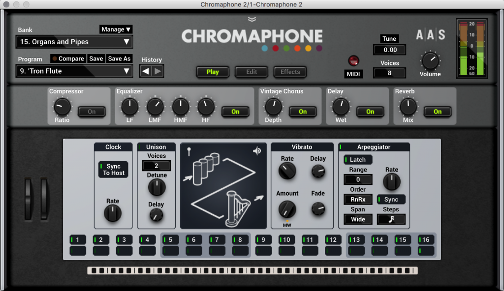 The overview screen of Chromaphone. From here, you can quickly dial up presets and control essential features - even if you aren't ready to peek under the hood and make your own sounds. But you should peek under the hood.