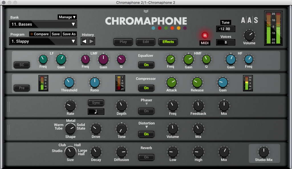 Chromaphone includes an extensive built-in effects rack.