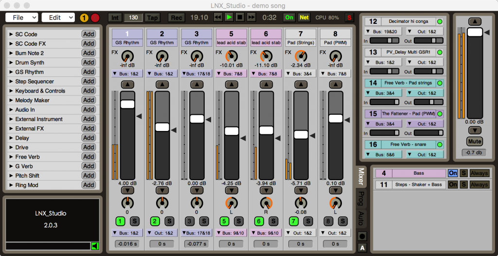 Fully loaded, the environment resembles portions of FL Studio or Ableton Live. You get a conventional mixer display, and easy access to your tools.