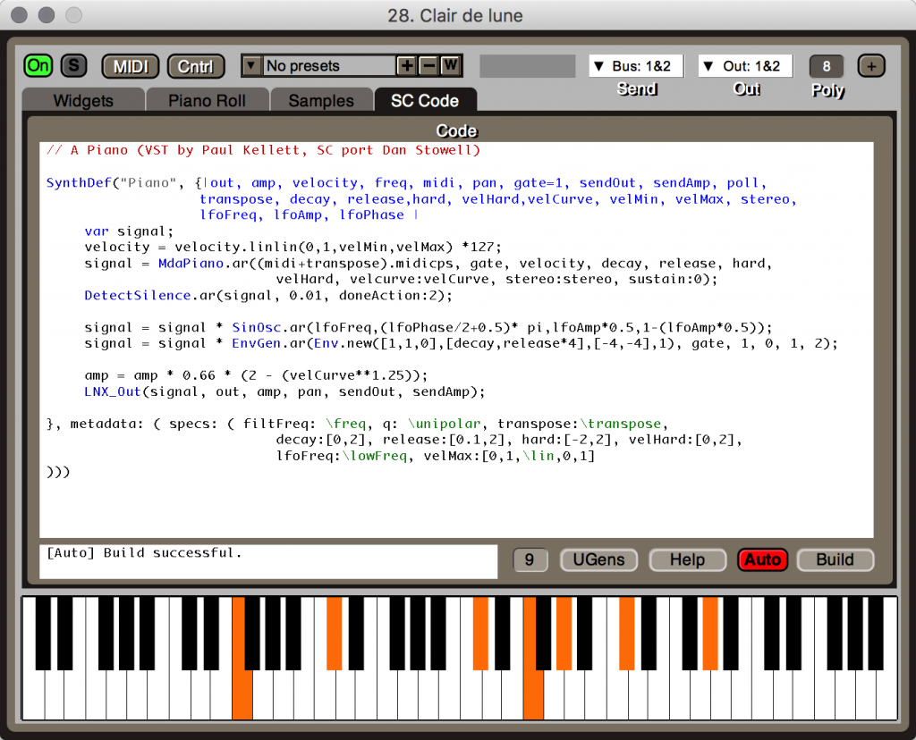 But here's the powerful part - inside every synth is SuperCollider code you can easily modify. And you can add your own code using this powerful, object-oriented, free and open source code environment for musicians.