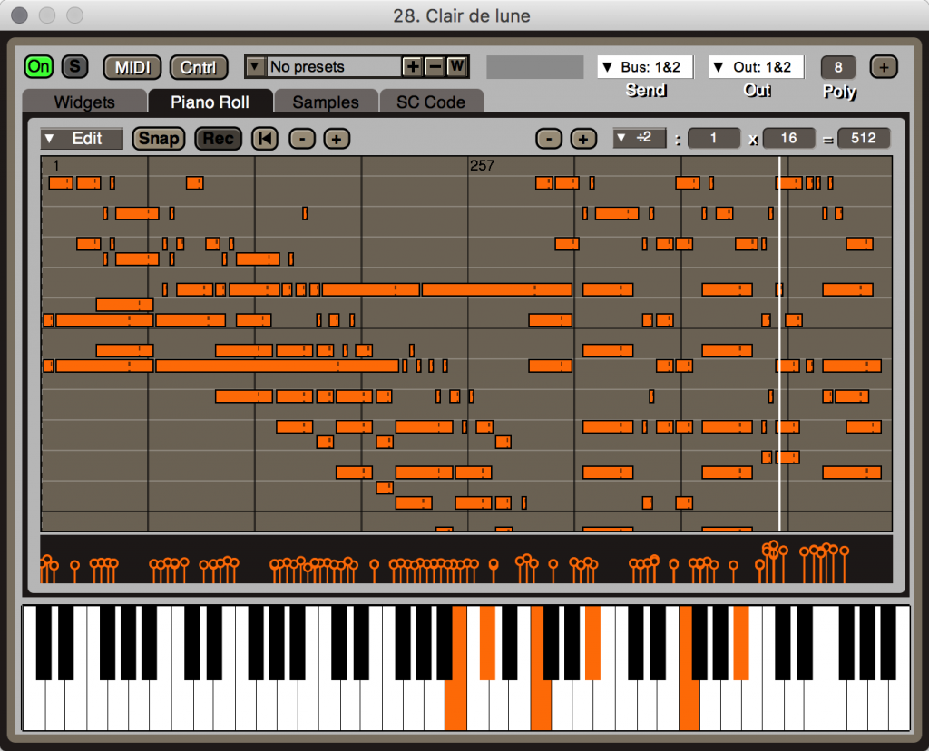 You also get chord generators and (here) a piano roll editor.