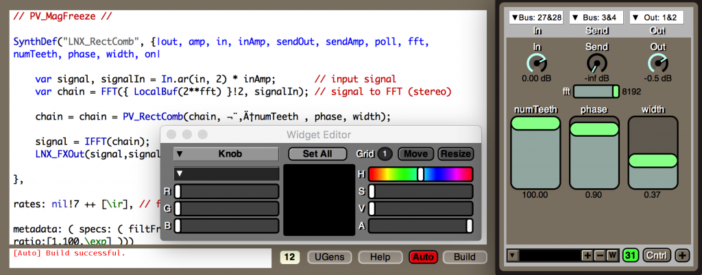 Effects can use SuperCollider code, too. There's also a widget library, so adding a graphical user interface is easy.