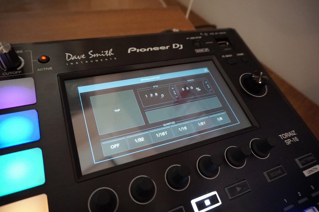 The (prototype) tempo screen - note, shuffle.