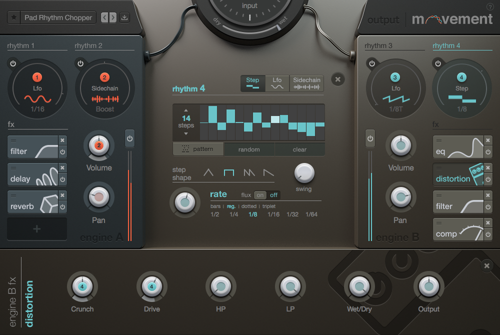 There's a full-featured step sequencer built into Movement for rhythmic effects synced to your song.