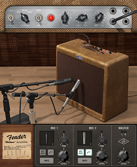 Simple controls here give you in fact a lot of sonic directions. Just changing the volume knob gives you a range of levels of tube distortion (once you drive into that area); mic choice is also closely modeled. Photo courtesy UA.