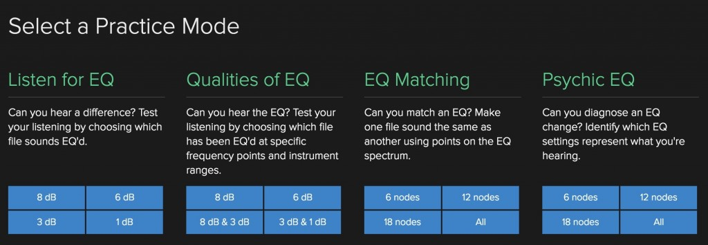 A series of tests lets you practice and challenge yourself - starting with equalization as a topic.