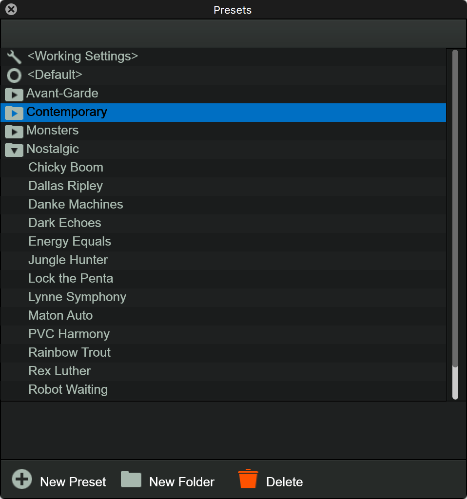 Just a few of the loads of presets.