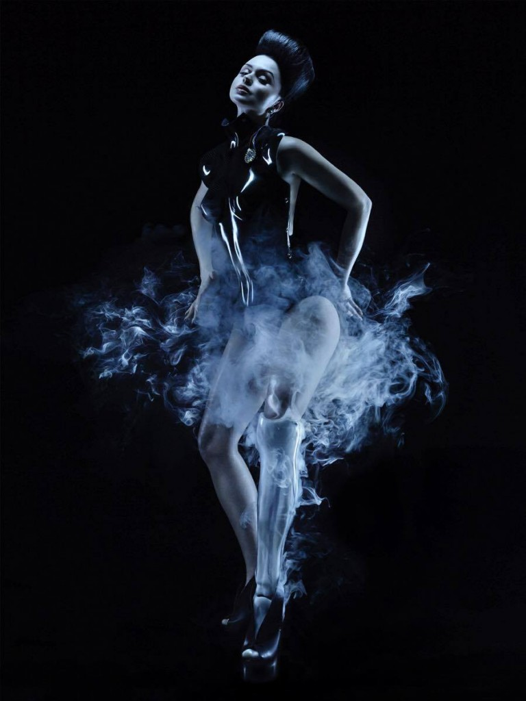 The image here featured a collaboration by Anouk Wipprecht for Viktoria Modesta with the 'sonified carbon fibrebody suit' by Selina Bond and Adam John Williams. Photo courtesy Music Tech Fest.