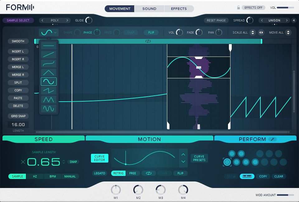 There are preset curves for controlling movement and modulation, but you can also design your own curves (whoa).