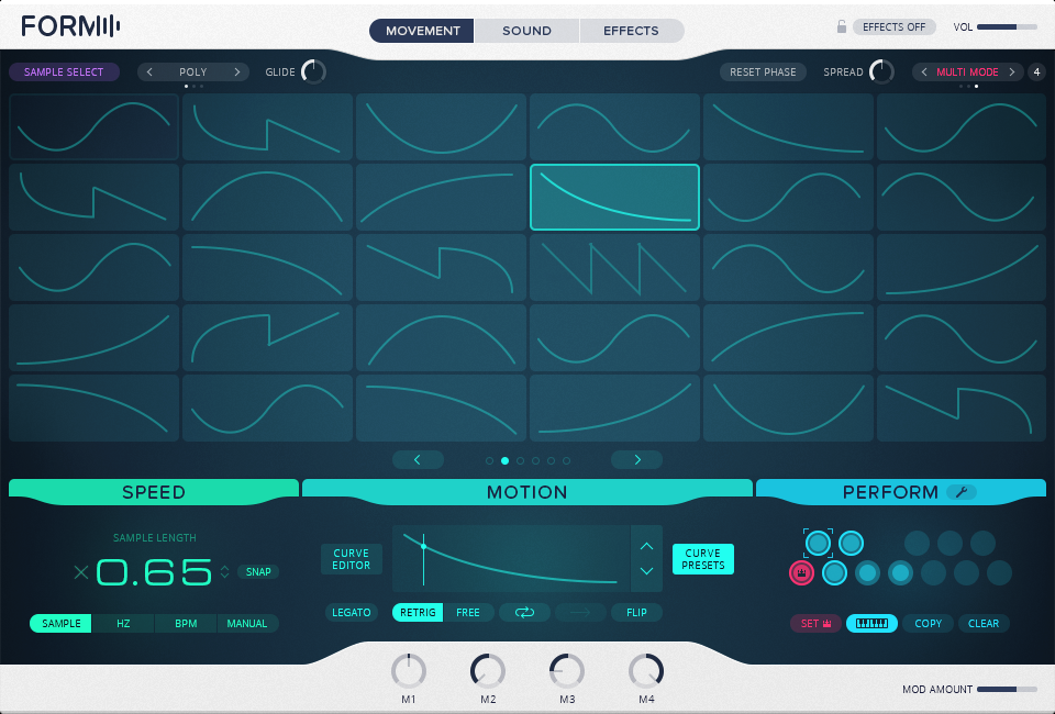 Curve presets give you the ability to shape sounds in time.