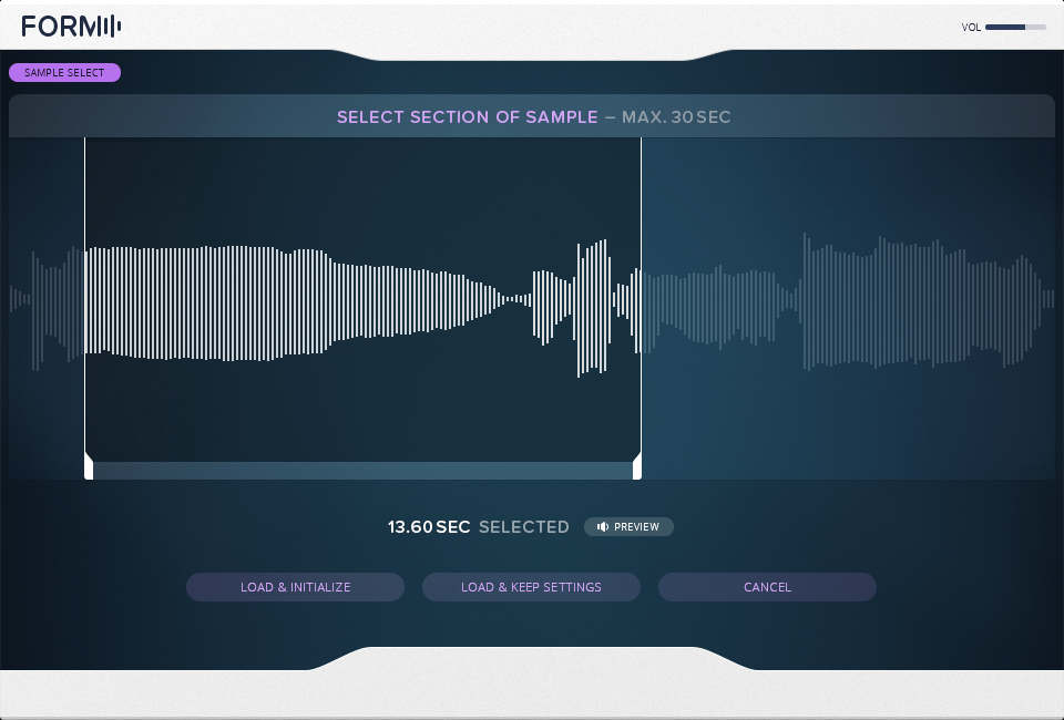 Drag and drop your own samples to create new sounds, with waveform selection tools at the ready. Monophonic pitched sounds work especially well with this technique.