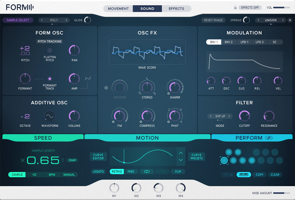 The sound page gives you more options, and reveals the instrument's hybrid synthesis - granular playback approach.