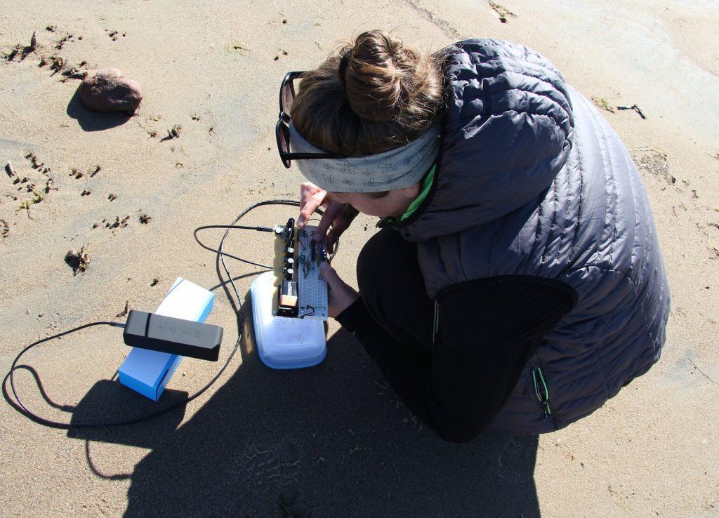Wiring up a DIY mobile noisemaker. Photo: Hai Art Hailuoto.