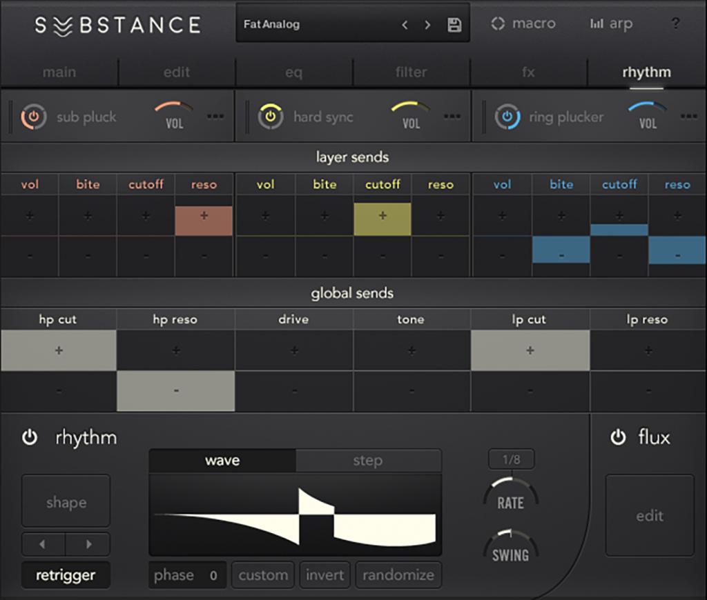 "The ""rhythm"" modulation section - note the ""randomize"" button."