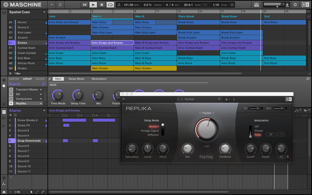 With Jam, immediate access to Maschine's sequencing, arrangement, and effects features is easier than ever.