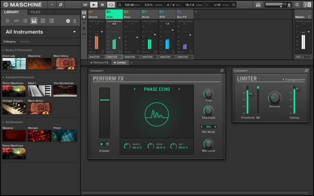 New performance effects, seen here with mixer.