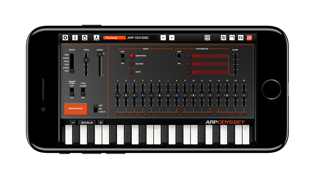 The arpeggiator features analog-style steps you can program - which also makes this functional on an iPhone.