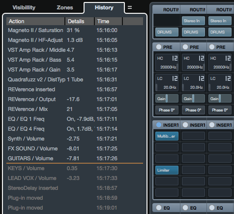 MixConsole history - a separate edit history for the mixer.