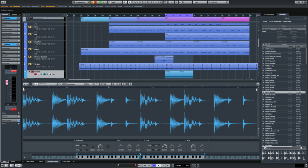 Sampler Track, showing the way the new view/edit pane in the bottom works.