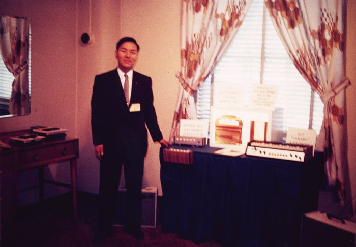 A young Mr. Kakehashi, posing with his original Ace Tone creations. Original source unknown; from this wonderful Sound on Sound history.