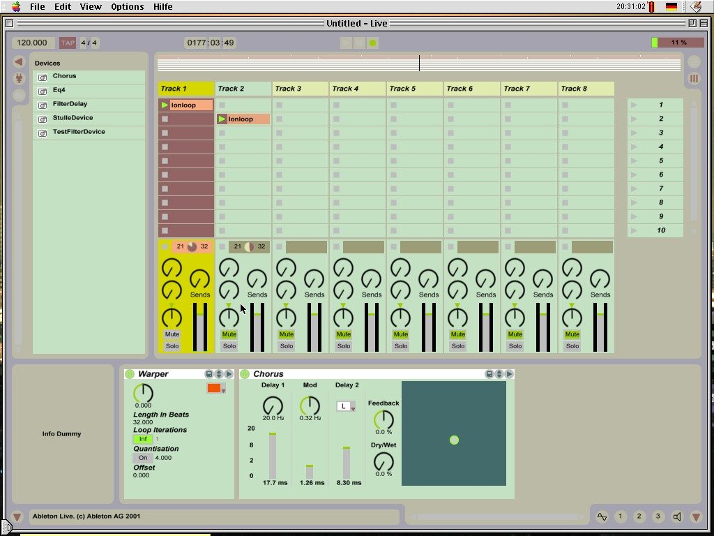 Ableton Live 1.0, alpha. Screenshot: Robert Henke.