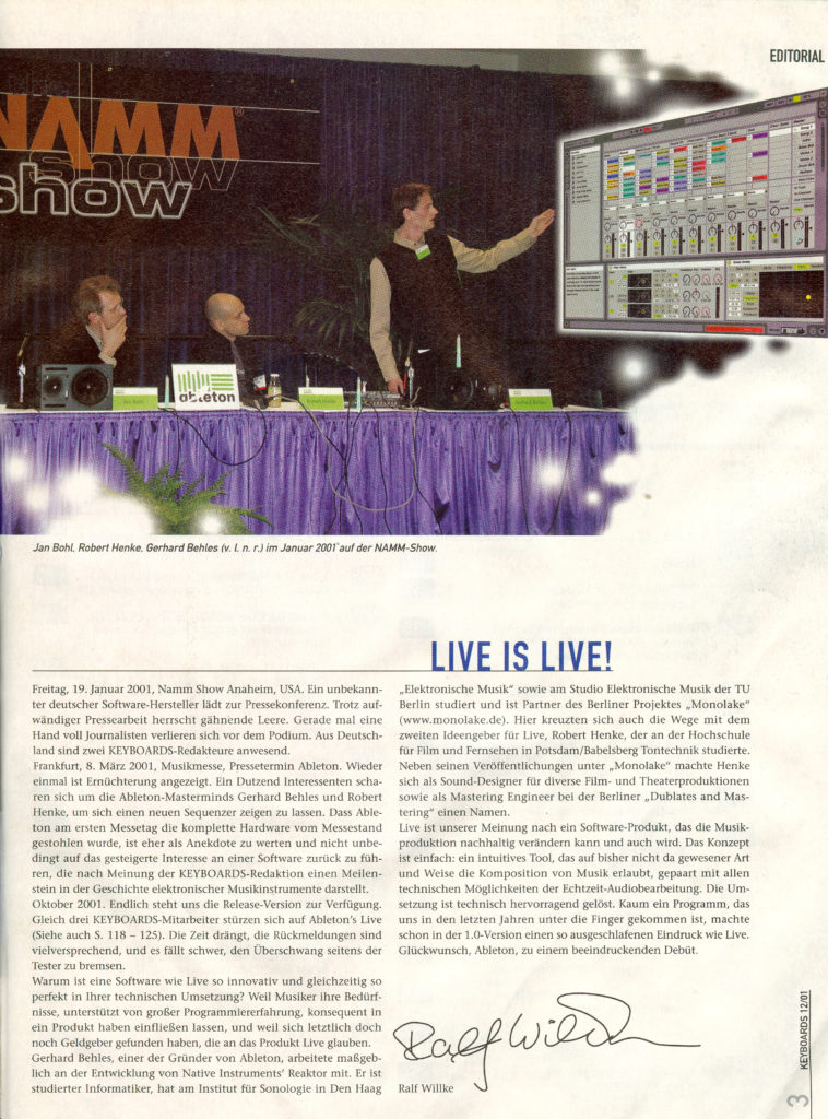Ableton Live, unveiled at NAMM in 2001.